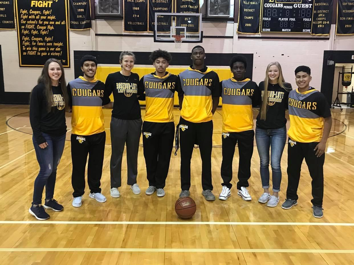As the season comes to a close, RLISD Athletics celebrates their senior Basketball Athletes. Pictured are Seniors McKenzie McGinniss, Julian Reyna , Emma Hering, Jonathan Adamez, Steven Buhl, Nathan Truesdale, Hannah Willberg, and Jose Perez. These athletes have put in hard work, dedication, and commitment to their sport, as well as to their academics.
