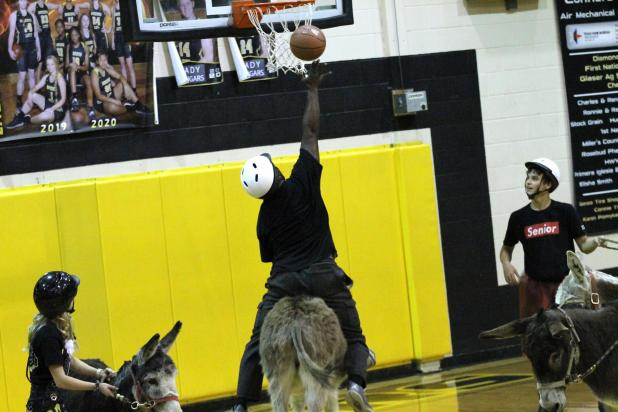 Players enjoy the annual Donkey Basketball game at Rosebud-Lott I.S.D.